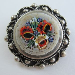 Vintage Round Mosaic Floral Poppies Brooch Pin